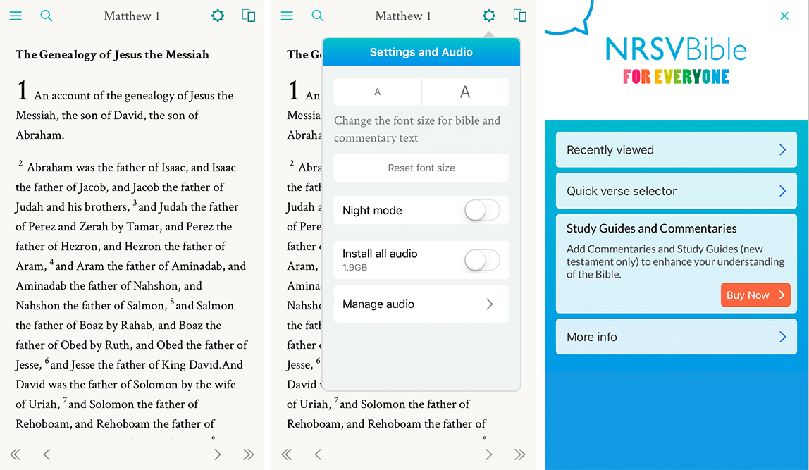 Three Screenshots of NRSV App